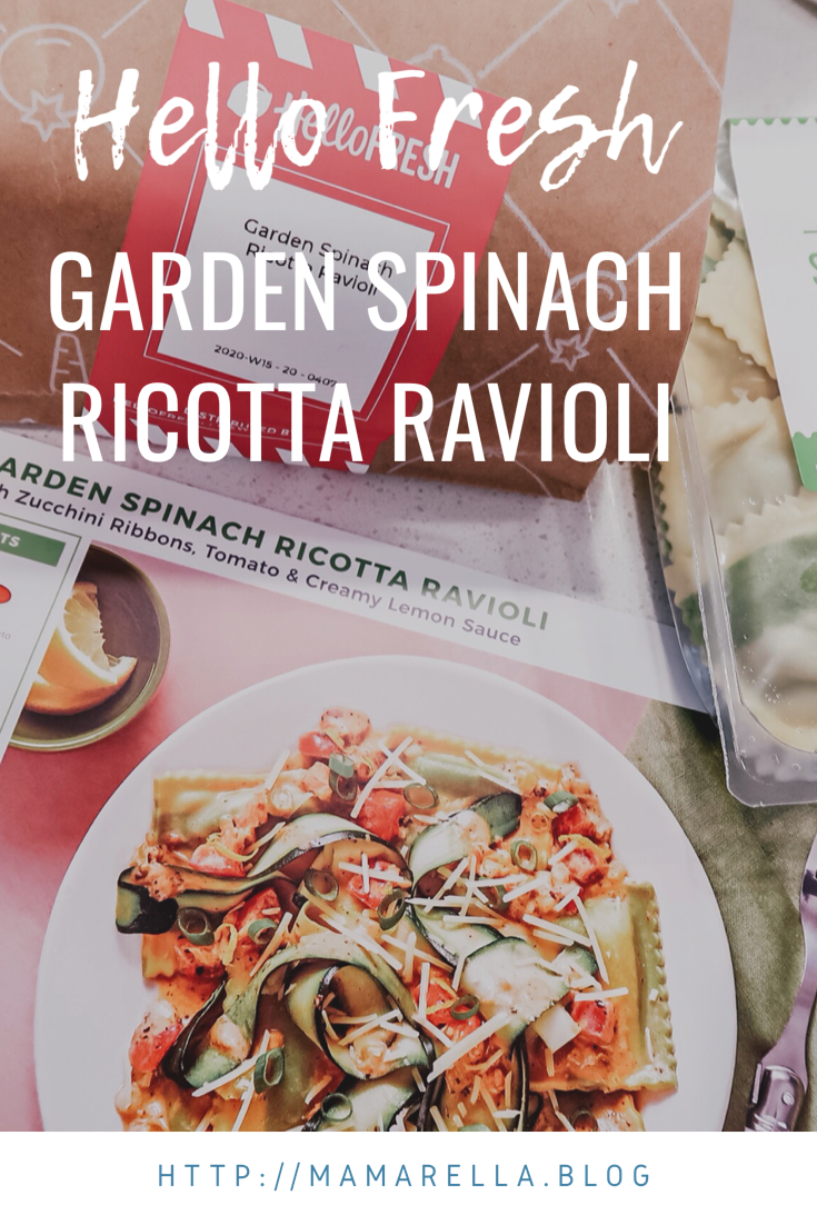 Hello Fresh; Garden Spinach Ricotta Ravioli
